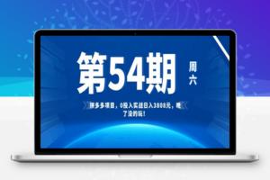 【254期】拼多多项目,0投入实战日入3808元,晚了没的玩!