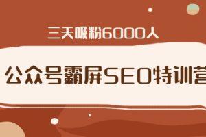 【16期】公众号霸屏SEO特训营,通过公众号被动精准引流,三天吸粉6000人